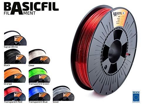 Basicfil PET 1.75mm, 500 gr filament pour imprimate 3D, Rouge transparent