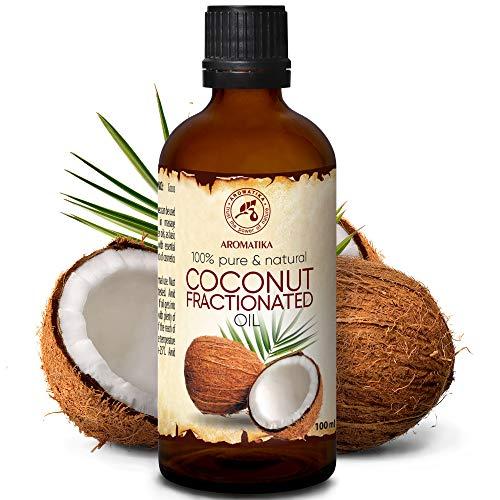 Kokosöl Fraktioniert 100ml - Cocos Nucifera Oil - 100{26fe293ecdb3b608bcf42ac835dad1a616fcb3a53478a0603beeb1a8d3ef2f1f} Reines & Natürliches Coconut Öl - Basisöl - Flüssig - Geruchlos - Intensive Pflege für Gesicht - Körper - Haut - Haare - Massageöl - Kosmetik