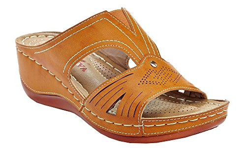 Lady Godiva Laser Cut-Out Detail Open Toe Comfort Platform Wedge Slip-On Sandals