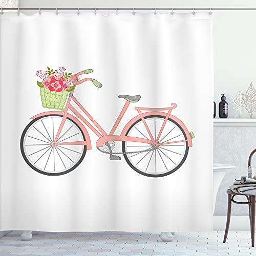 ABAKUHAUS Bike Party Duschvorhang, Rosa Retro Fahrrad Motiv, Waserdichter Stoff mit 12 Haken Set Dekorativer Farbfest Bakterie Resistet, 175 x 200 cm, Weiß Blush Hellgrün
