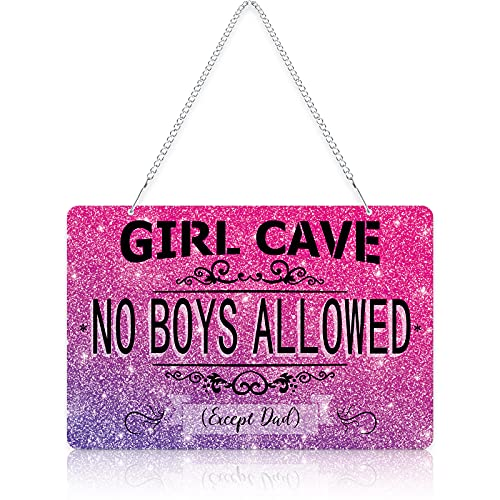 Girl Cave Metal Sign Funny No Boys Allowed Except Dad Sign Girl Room Wall Door Sign Decor with Chain for Teen Girls Daughter Bedroom Door Wall Decoration, 12 x 8 Inch