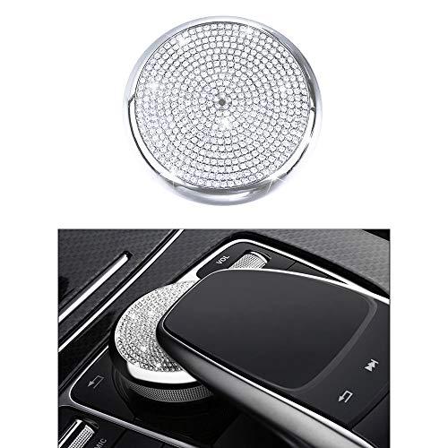 VDARK Mercedes Zubehör Benz Teile W204 X204 W166 X166 C-Klasse GLK-Klasse AMG BEFEHLKNOPF Zentrale Multimedia-Regler Kappen deckt Innen-Innendekorationen ab Damen Herren Bling Kristall (Silber)