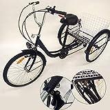 OUBAYLEW Triciclo Adulto con Cesta 24' 3Ruedas 6velocidades Ajustable + luz Principal (Negro)