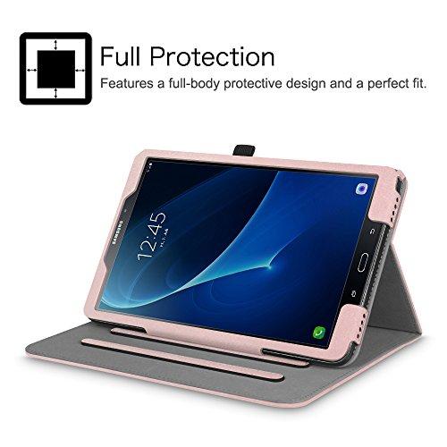 Fintie Samsung Galaxy Tab A 10.1 Hülle, [Eckenschutz] Multi-Winkel Betrachtungsständer Abdeckung mit Kartenfach Auto Sleep/Wake für Tab A 10.1 Zoll (NO S Pen Version SM-T580/T585/T587) Tablet, Rotgold