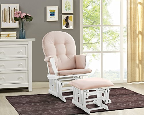 Angel Line Windsor Glider and Ottoman White Finish and Pink Cushions