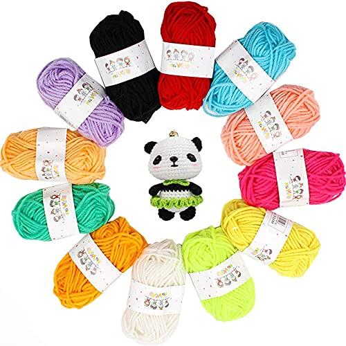 12 Colores Bola de Hilo Acrílico, Hilados Lana, Hilo Acrílico, Hilo Ganchillo Colores, para Tejer...