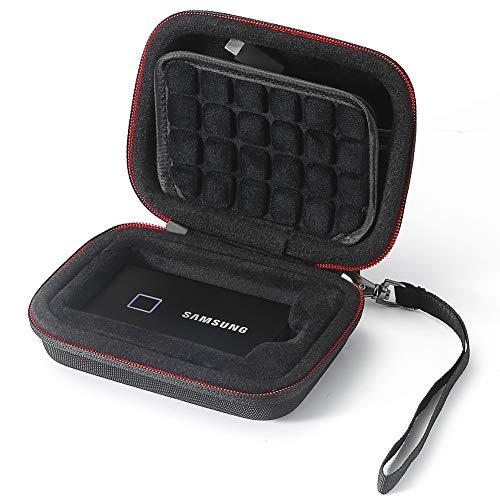 Hard Case für Samsung T7 Touch Tragbare SSD 1 TB / 2 TB / 500 GB, Tragetasche - Schwarz (schwarzes Futter) (nur Etui, passend für 1 SSD)
