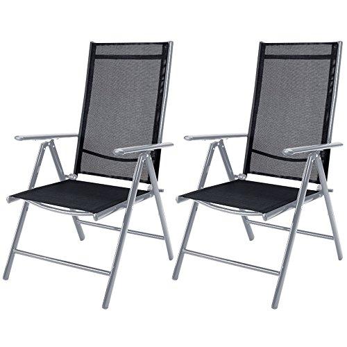 Set de 2 chaises en aluminium argent dossier haut réglable fauteuil jardin résistant aux intempéries