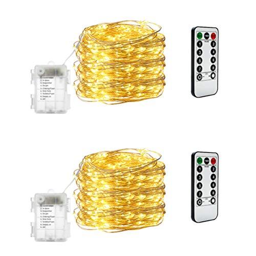 Lichterkette Batterie,10M 100 LED Lichterketten 8 Modi Batteriebetrieben Kupferdraht Wasserdichte IP65 mit Fernbedienung für Party Halloween, Weihnachten Dekoration, Warmweiß(2Stück)