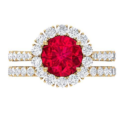 Anillo de halo, conjunto de anillos de novia rubí, piedras preciosas redondas de 3,98 quilates, anillo de solitario D-VSSI Moissanite 8 mm, 14K Oro amarillo, Rubí, Size:EU 47