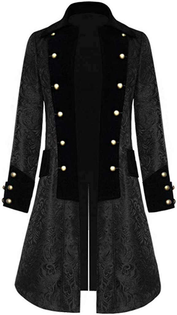 Men's Steampunk Vintage Tailcoat Jacket Gothic Victorian Frock Long Trench Coat
