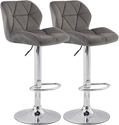 KYOTECH Modern Flannel Adjustable Swivel Bar Stools with Back, Set of 2, Home Kitchen Counter Bar Chair(Grey)