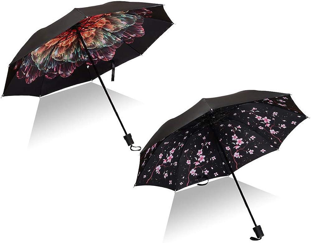 Choice 2PCS Travel SunRain Umbrellas 3-Fol 10Ribs Compact Lightweight Ranking TOP5