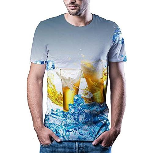CKKHYCD Ice Cube bière Impression 3D à Manches Courtes T-Shirt Couple col Rond étudiant Sport Haut à séchage Rapide