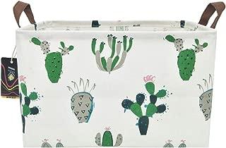 HKEC Rectangle Storage Basket with Handles, Collapsible Storage Box Cute Canvas Organizer Bin for Pet/Kids Toys/Playroom Organization/Toy Bin/Closet/Shelf Baskets/Baby Hamper(Green/Gray Cactus)
