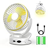 Clip On Fan, Mini Desk Fan Battery Operated, Ultra Quiet 4-Speed Portable Baby Stroller Fan with Night Light, 3600mAh USB Rechargeable Hanging Fan for Home Office Buggy Outdoor Camping