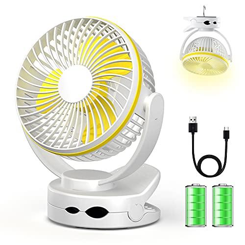 Clip Ventilator, Ultraleiser Mini USB Schreibtisch L¨¹fter Batteriebetrieben, 4-stufiger tragbarer Baby-Kinderwagen-Ventilator mit warmem Nachtlicht, 3600 mAh USB-aufladbarer Ventilator