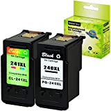 GREENCYCLE Remanufactured Ink Cartridge Compatible for Canon PG-240XL 240 XL CL-241XL 241 XL PIXMA MG3620 MG4220 MG3220 MG2220 MX392 MX432 MG3522 Printer (Black, 1 Pack ; Tri-Color, 1 Pack)