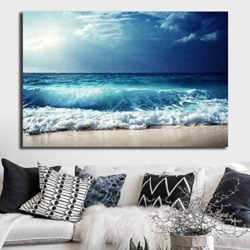 Geiqianjiumai Print modern canvas schilderij zee strand zand zeelandschap kunstwerk afbeelding muur kunst poster thuis kantoor decoratie zonder lijst