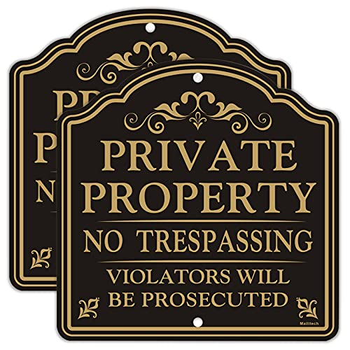 MAILITECH (2 Pack) Private Property No Trespassing Sign, 12x12 Inches Reflective Aluminum Metal Warning Signs, Fade Resistant, Waterproof & Weatherproof, UV Protected, Indoor or Outdoor Use