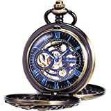 ManChDa Vintage Pocket Watch with Chain Classic Skeleton Dream Dragon Burlywood Fob Watch for Men Women & Gift Box