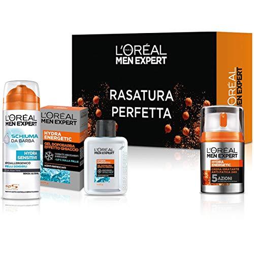 L'Oréal Paris Men Expert Cofanetto Hydra Energetic, Set Completo di Prodotti da Uomo per la Rasatura della Barba, Confezione da 3