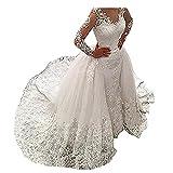 Women's Wedding Dress for Bride Mermaid Long Sleeve Lace Wedding Dress Bridal Gowns Detachable Train (White, 16)