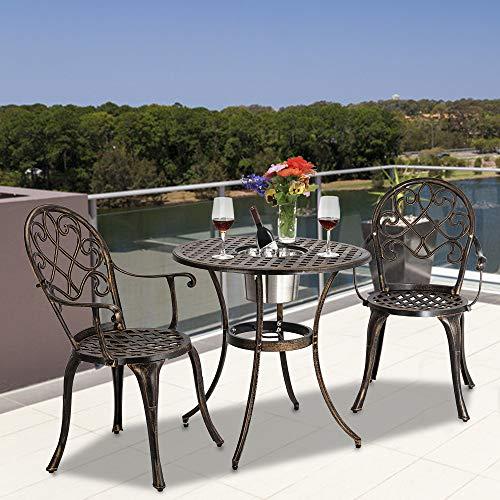 ARONTOME Juego de mesa de jardín y sillas de jardín de 3 piezas, con cubo de hielo, estilo europeo bronce
