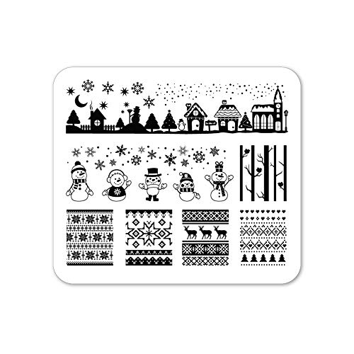 Winstonia Christmas Nail Stamping Plate Nail Art Image Stencil Manicure Template Festive Winter Holiday (Winter Wonderland)