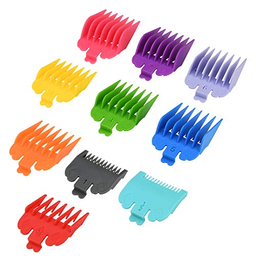 """10 Pcs Hair Clipper Combs Guides, Professional Colorful Clipper Attachments Guide Combs 1/16"""" to 1"""", Replacement Guards Set Compatible with Most Wahl Clippers"""