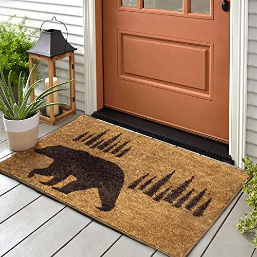 Klattii Indoor Outdoor Funny Doormat for Entryway Brown Bear Welcome Mats for Front Door Western Rustic Shoe Mat Cabin Decor Floor Mat Non-Slip Rug