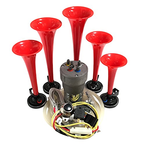 OEMLINK International LTD Dixie Air Horn Red - Dixieland Premium Full 12 Note Version with Installation Wire Kit and Button