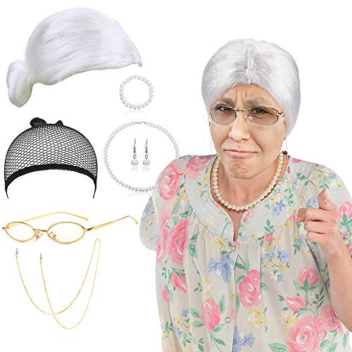 SPECOOL Old Lady kostuum set grootmoeder cosplay accessoire met oma pruik, Madea oma bril, lenzenvloeistof kettingen riem, parel sieraden, oma kostuum accessoire
