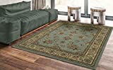 Ottomanson Royal Collection Traditional Design Non-Slip Jute Backing Area Rug, 5'3' X 7', Seafoam Floral