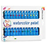Zenacolor - 24 Tubos de Pintura de Acuarela 12ml - Pigmentación Concentrada para Colores Vívidos y Secado Rápido