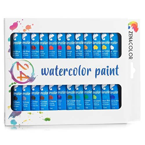 Set da 24 Tubetti di Pittura ad Acquerello Zenacolor - Confezione da 24 x 12mL – Pittura di Qualità Superiore e Non Tossica