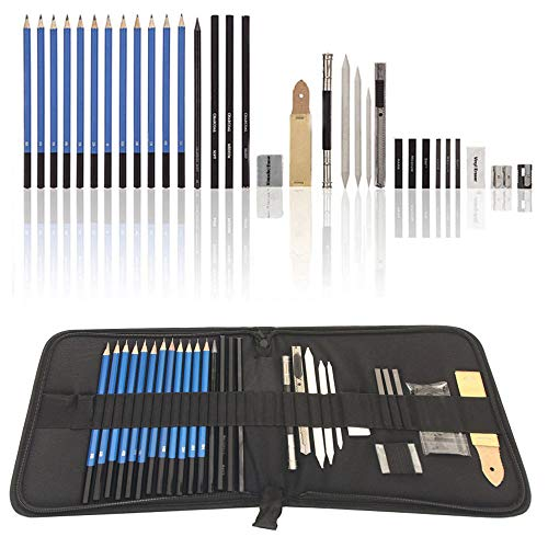 Graphite Drawing Pencils and Sketch Set (33-Piece Kit), Complete Artist Kit Includes Charcoals, Pastels and Zippered Carry Case.