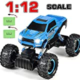 RC Car, 2020 Updated 2.4Ghz 4WD 1/12 Scale RC Trucks Rc Crawlers Remote Control Car with Two Rechargeable Batteries, Off Road Vehicle for Kids & Adults, Blue