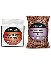 Semillas Batlle Sustratos Ecológicos Brick de Fibra de Coco 650g + Sustratos Bolas Arcilla Expandida 5l