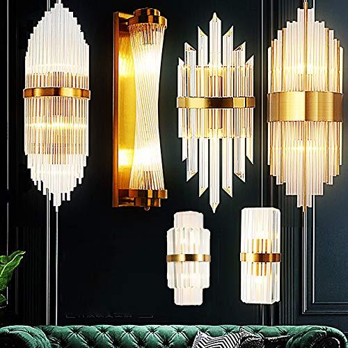 Luxe Applique Murale Cristal Doré Lampe Murale, Luminaire Décorative Baroque Pour Salon Intérieur Et Chambre À Coucher Interrupteur Éclairage Murale LED Veilleuse 2-55X23CM