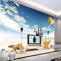 Ljjlm カスタマイズされた大規模な壁画青い空と白い雲熱気球海景テレビの背景不織布壁紙-350X230Cm