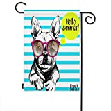 Moslion Dog Garden Flag Stripe French Bulldog with Sunglasses Hello Summer Home Flags 12x18 Inch Double-Sided Banner Welcome Yard Flag Outdoor Decor. Lawn Villa