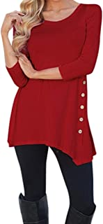 Women Long Sleeve Loose Button Trim Blouse Solid Color Round Neck Tunic T-Shirt by