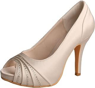 Wedopus MW883 Women Peep Toe White Satin Dress Shoes Platform Diamante Wedding Shoes
