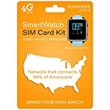 SpeedTalk Mobile Smartwatch SIM Card Starter Kit - No Contract (Triple Cut SIM: Standard, Micro, Nano) for 4G Smart Watches - Global Coverage