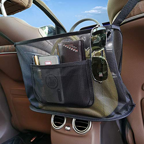 Car Handbag Holder, 2021 Upgraded Car Seat Back Organizer Mesh Bag, Purse Storage & Pocket Holder Seat Storage Net for Phone Documents Books-Driver Storage Netting Pouch and Pet Kids Barrier