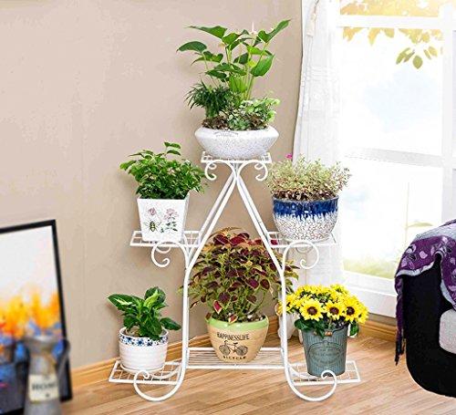 QFF Cadre de fleurs à plusieurs étages de style européen Placage multifonctionnel Pot de pot de fleurs Salon de balcon Intérieur Ensemble de fleurs de sol ( Couleur : Blanc , taille : 83*23*80cm )