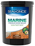 SEAL-ONCE MARINE - 5 Gallon Penetrating Wood Sealer, Waterproofer & Stain. Water-Based, Ultra-low VOC formula...
