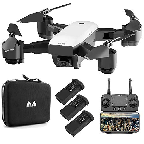 SMRC Foldable FPV RC Drone with Adjustable Wide-Angle 1080P HD Camera for Adults RC Helicopter,Altitude Hold,3D Flips/Headless Mode/One Key Return 3D VR Mode Auto Return