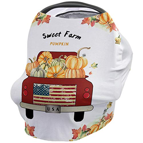 Review Red Truck Sweet Farm Pumpkin Nursing Cover for Baby Breastfeeding, Soft Breathable Stretchy C...